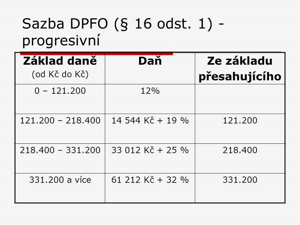 Sazba DPFO (§ 16 odst. 1) - progresivní