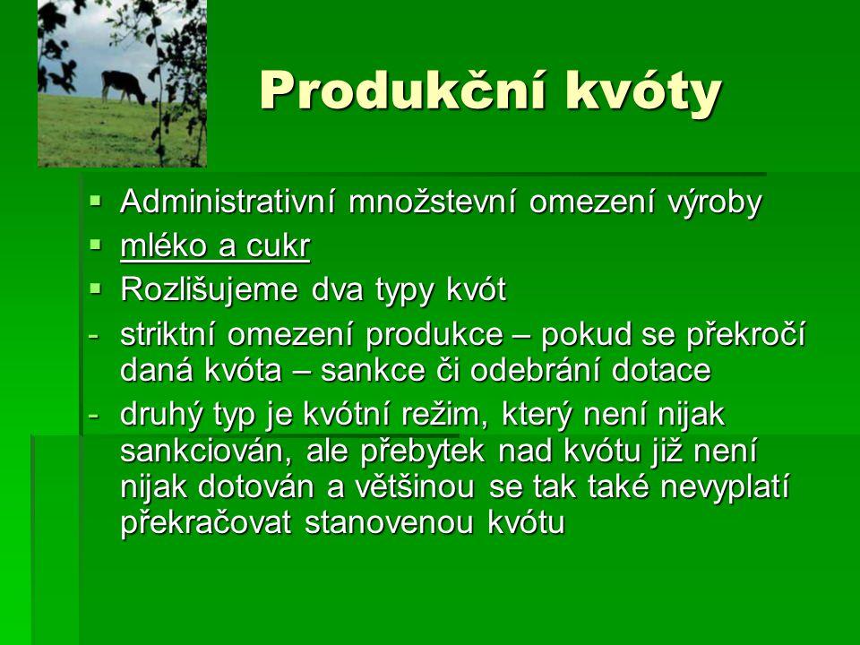 Produkční kvóty Administrativní množstevní omezení výroby mléko a cukr
