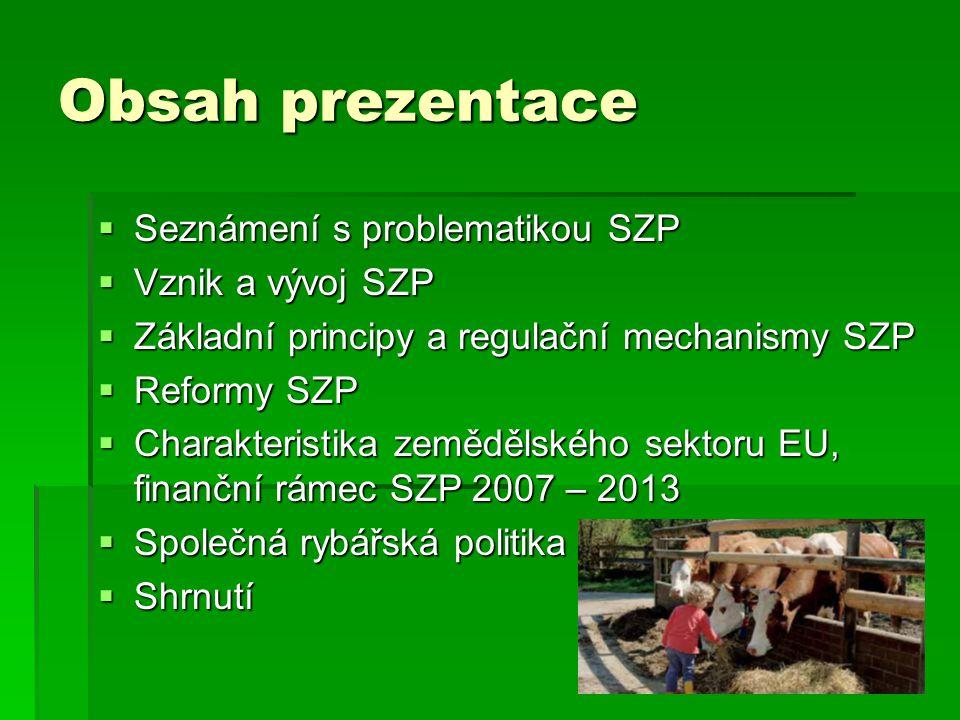 Obsah prezentace Seznámení s problematikou SZP Vznik a vývoj SZP
