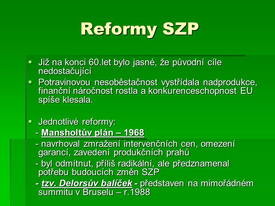 Reformy SZP Již na konci 60.let bylo jasné, že původní cíle nedostačující.