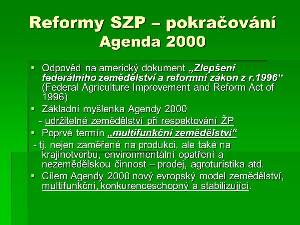 Reformy SZP – pokračování Agenda 2000