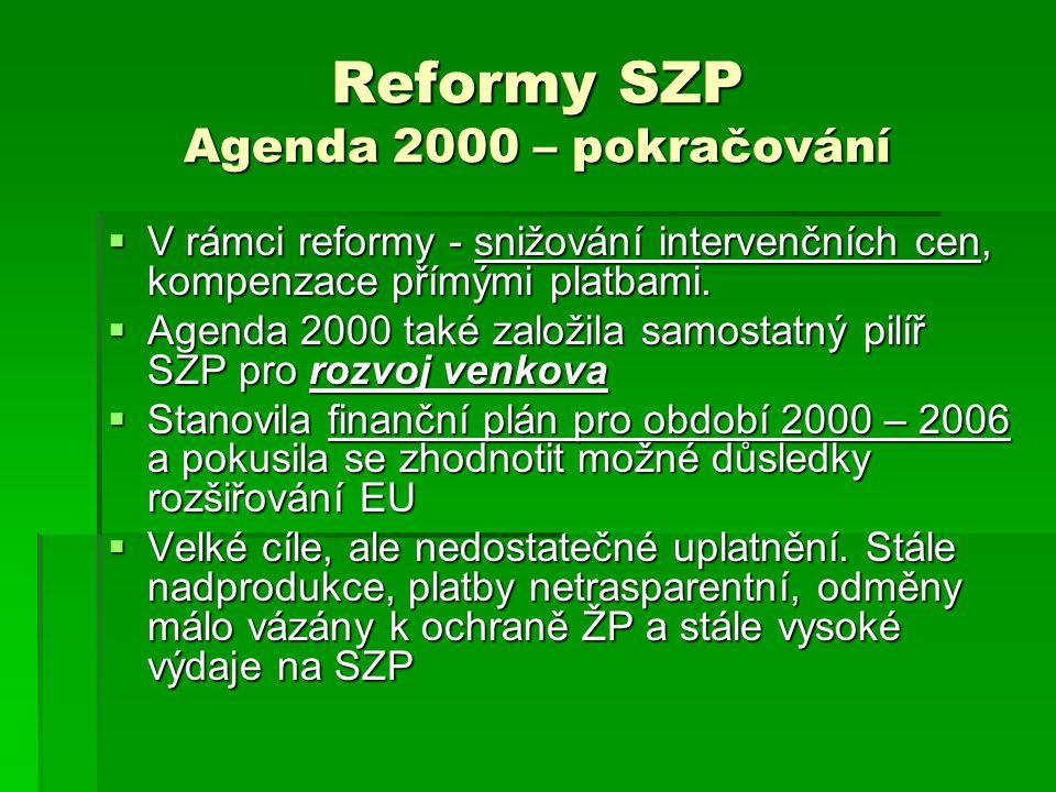 Reformy SZP Agenda 2000 – pokračování