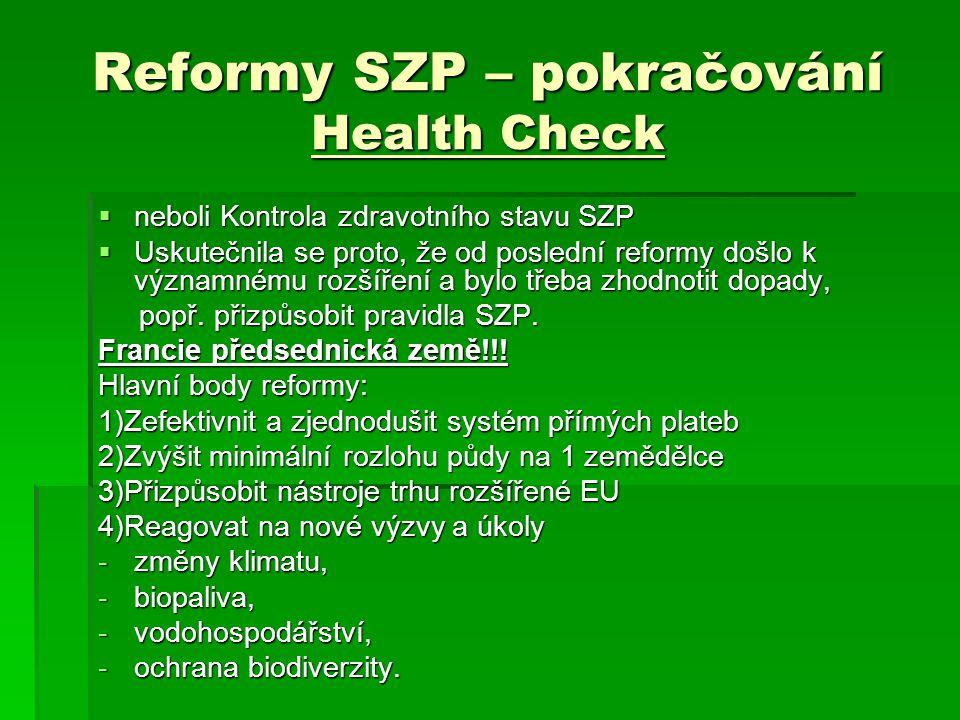 Reformy SZP – pokračování Health Check