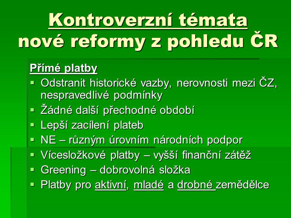 Kontroverzní témata nové reformy z pohledu ČR