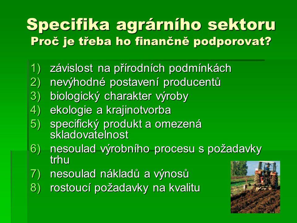 Specifika agrárního sektoru Proč je třeba ho finančně podporovat