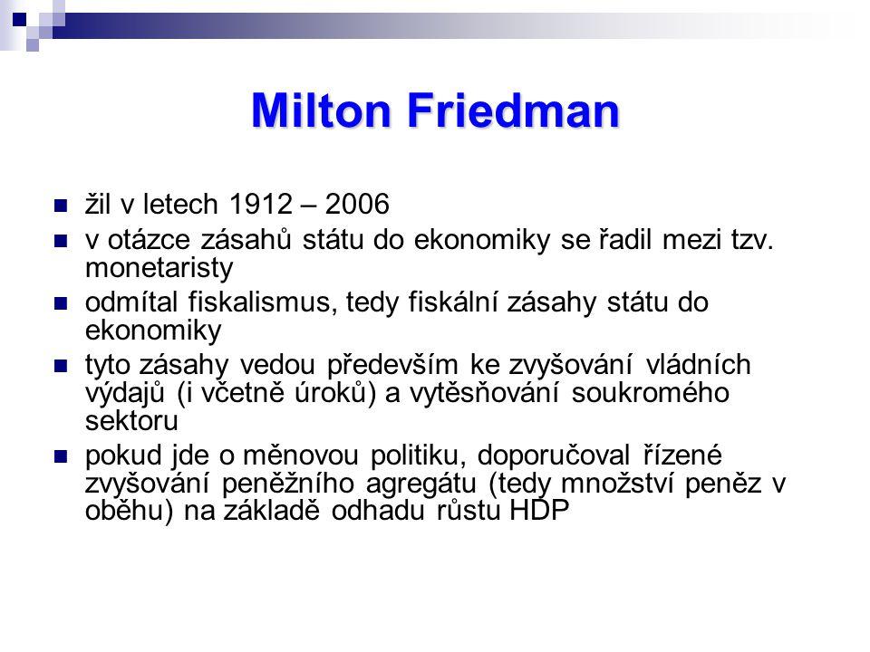 Milton Friedman žil v letech 1912 – 2006