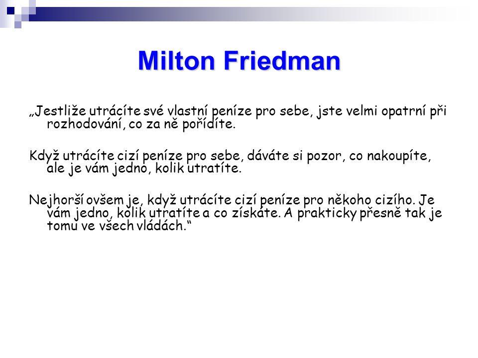 """Milton Friedman """"Jestliže utrácíte své vlastní peníze pro sebe, jste velmi opatrní při rozhodování, co za ně pořídíte."""