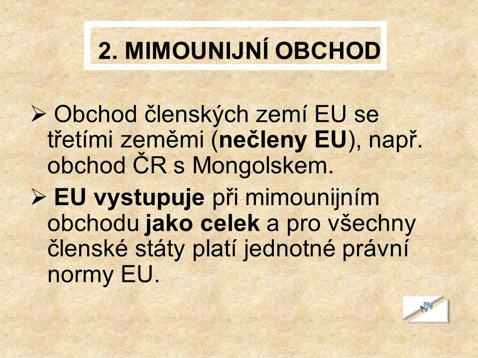 2. MIMOUNIJNÍ OBCHOD Obchod členských zemí EU se třetími zeměmi (nečleny EU), např. obchod ČR s Mongolskem.