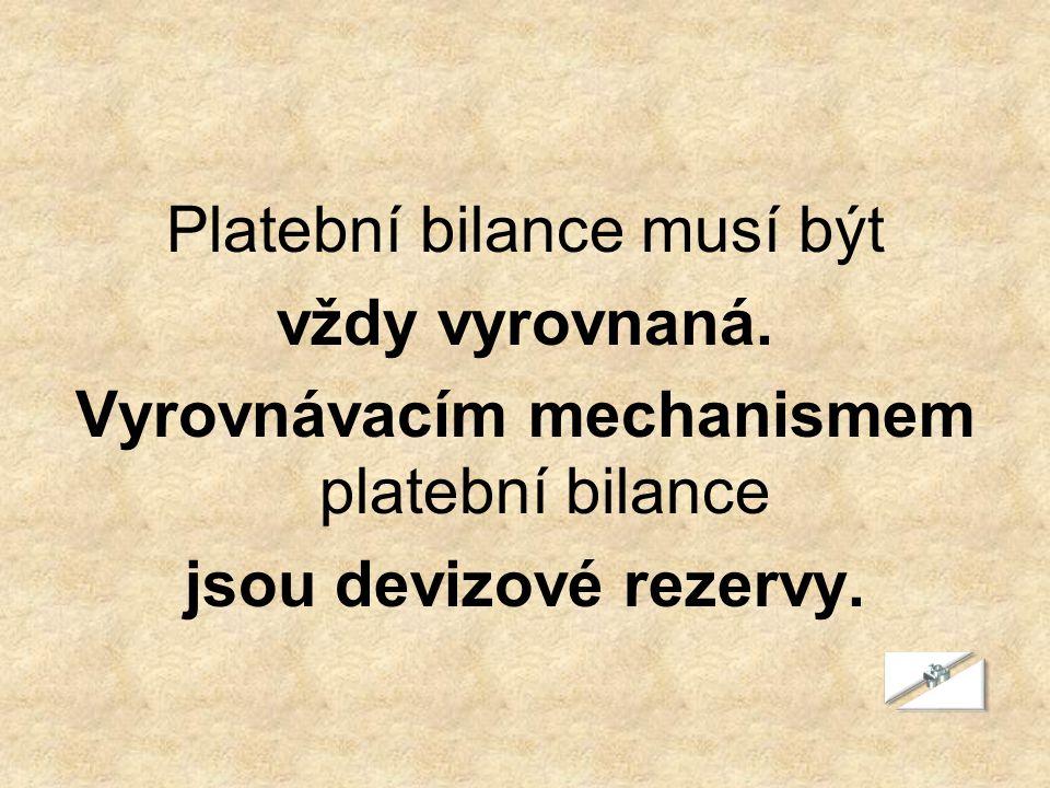 Platební bilance musí být vždy vyrovnaná