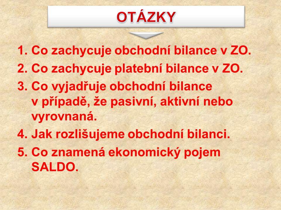 OTÁZKY Co zachycuje obchodní bilance v ZO.