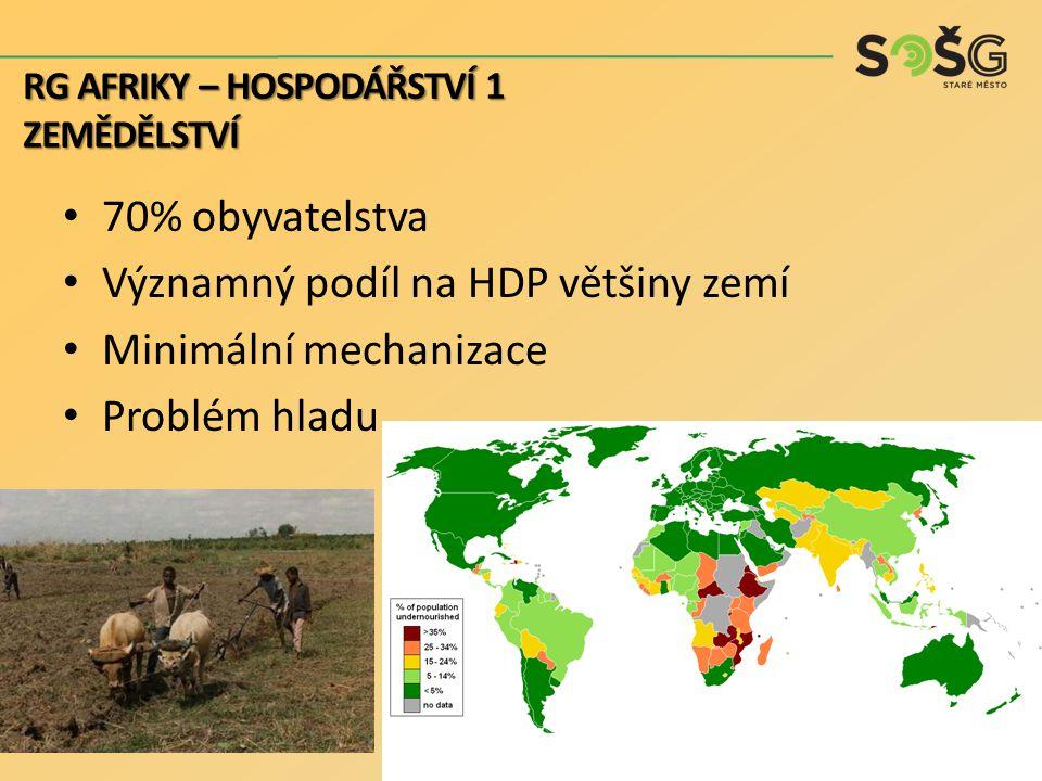 Významný podíl na HDP většiny zemí Minimální mechanizace Problém hladu