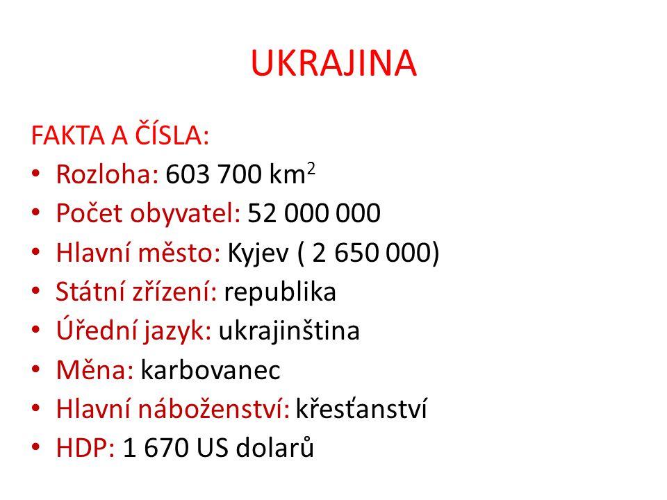 UKRAJINA FAKTA A ČÍSLA: Rozloha: 603 700 km2