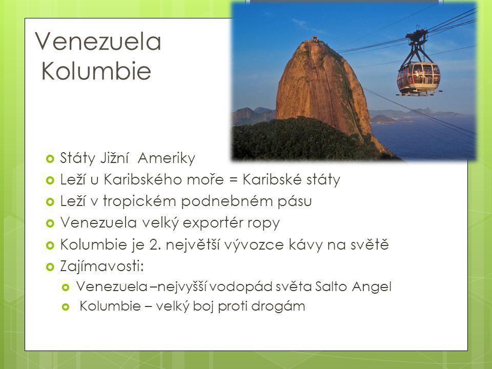 Venezuela Kolumbie Státy Jižní Ameriky