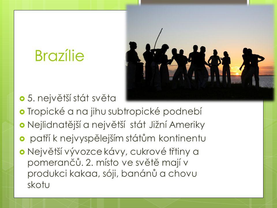 Brazílie 5. největší stát světa Tropické a na jihu subtropické podnebí