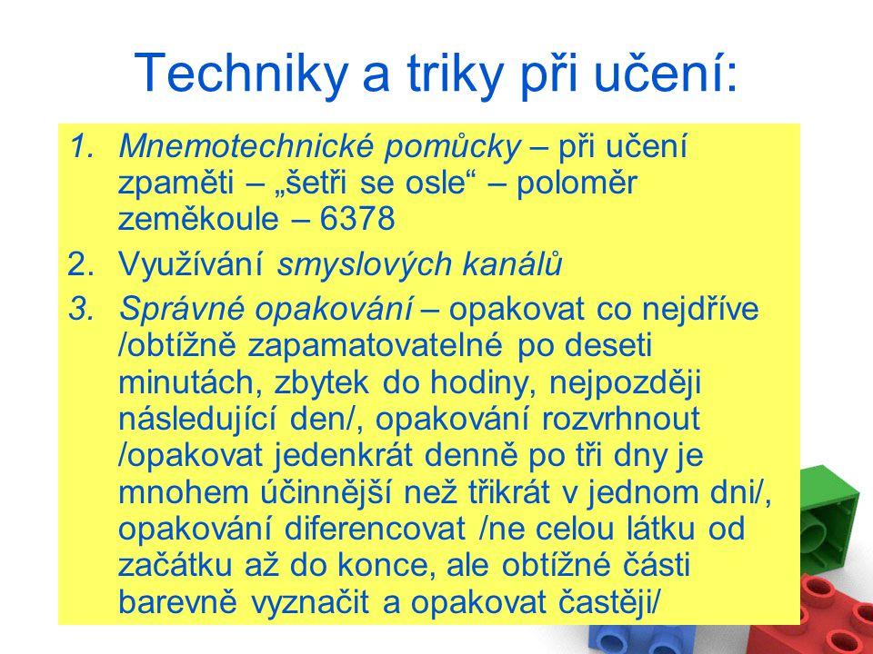 Techniky a triky při učení: