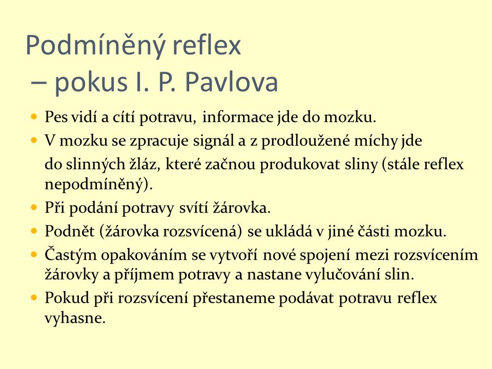 Podmíněný reflex – pokus I. P. Pavlova