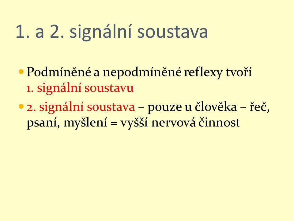1. a 2. signální soustava Podmíněné a nepodmíněné reflexy tvoří 1. signální soustavu.