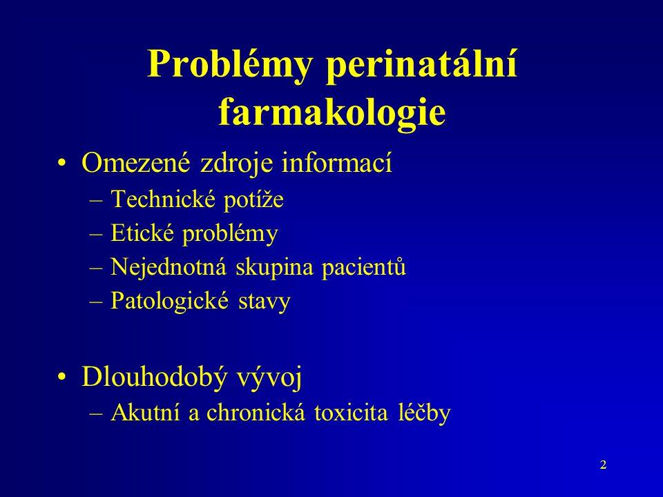 Problémy perinatální farmakologie