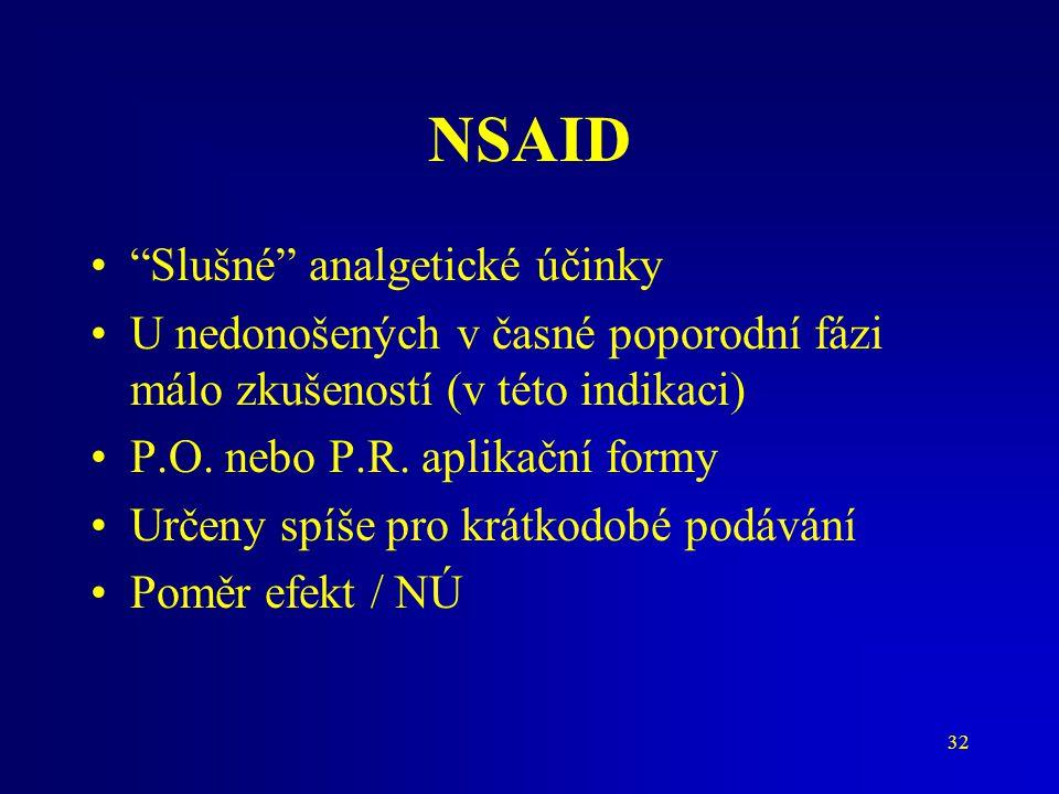 NSAID Slušné analgetické účinky