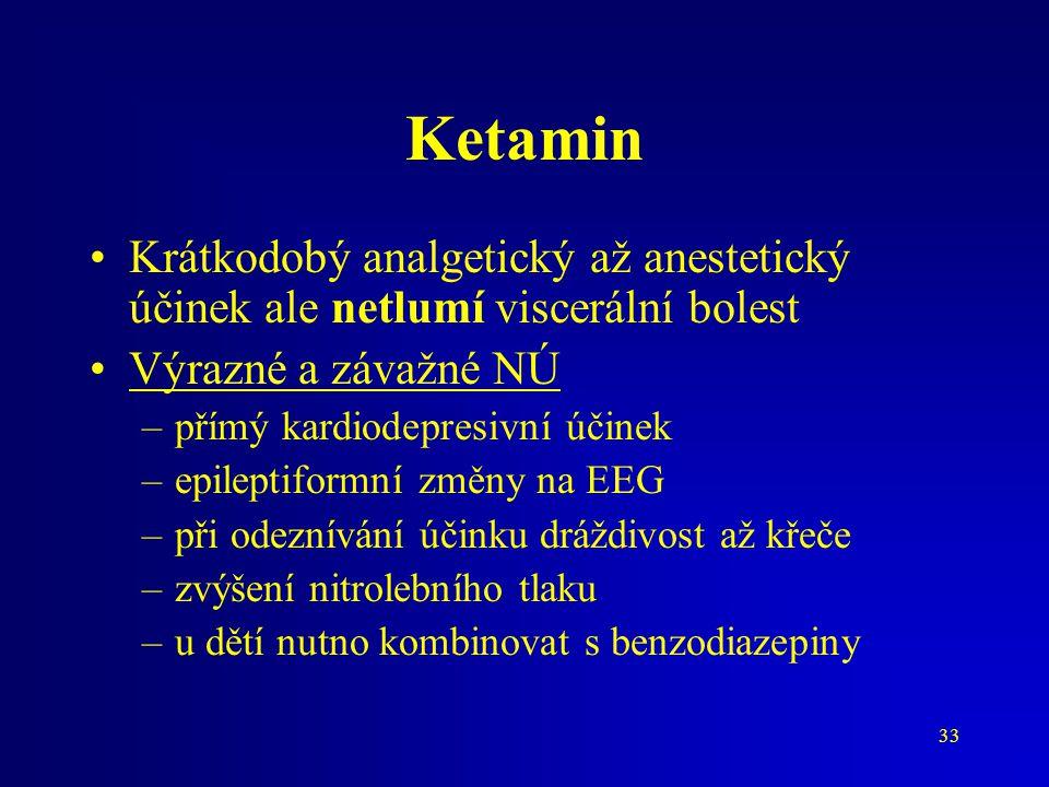 Ketamin Krátkodobý analgetický až anestetický účinek ale netlumí viscerální bolest. Výrazné a závažné NÚ.