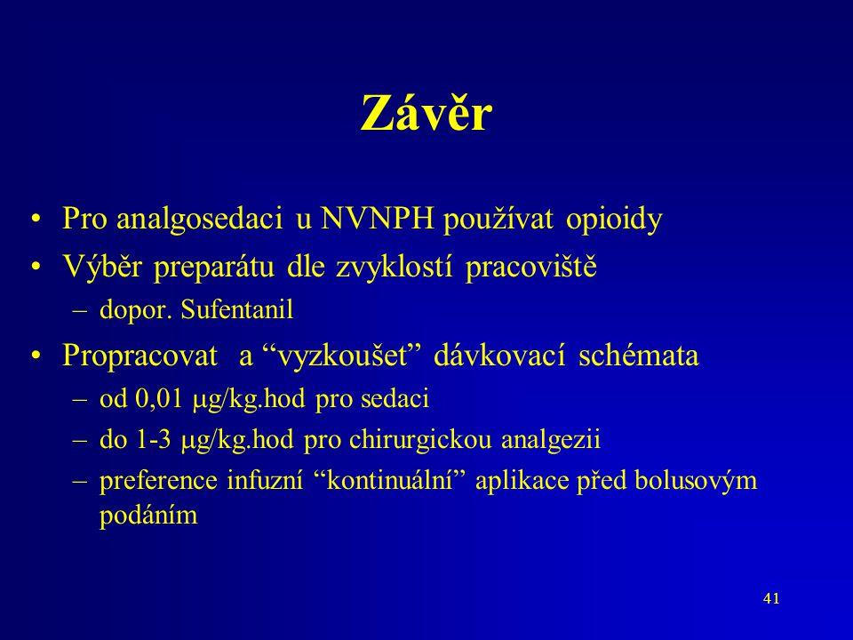 Závěr Pro analgosedaci u NVNPH používat opioidy