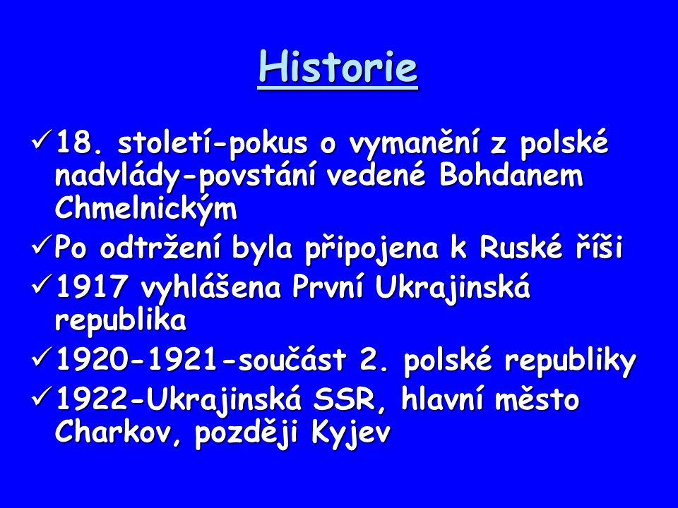 Historie 18. století-pokus o vymanění z polské nadvlády-povstání vedené Bohdanem Chmelnickým. Po odtržení byla připojena k Ruské říši.