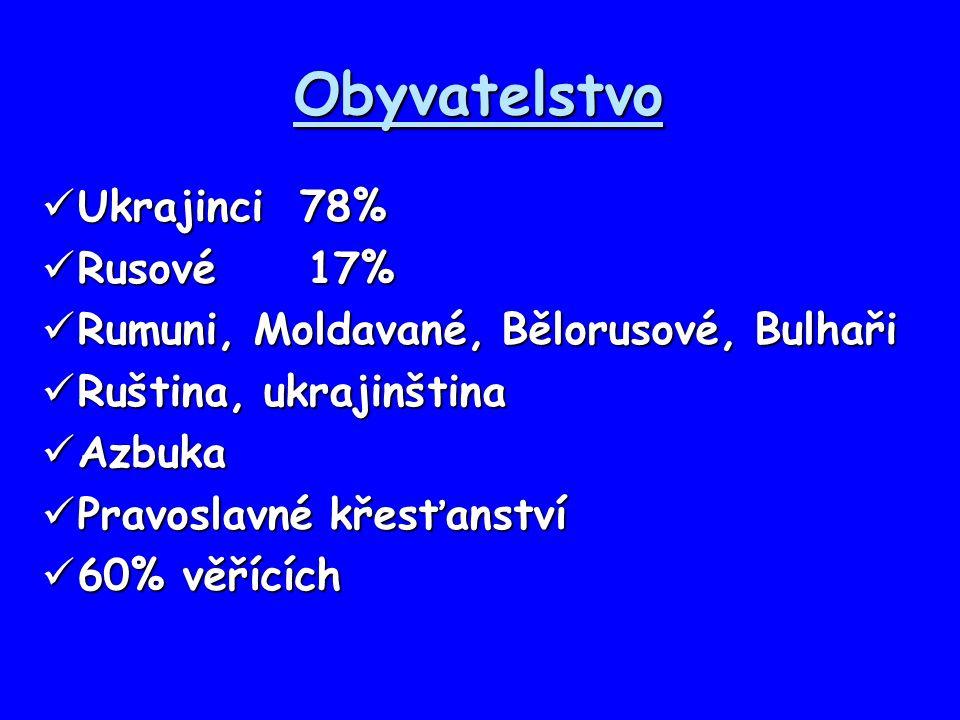 Obyvatelstvo Ukrajinci 78% Rusové 17%