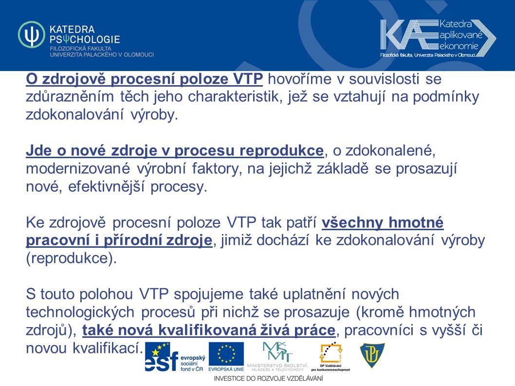 O zdrojově procesní poloze VTP hovoříme v souvislosti se zdůrazněním těch jeho charakteristik, jež se vztahují na podmínky zdokonalování výroby.