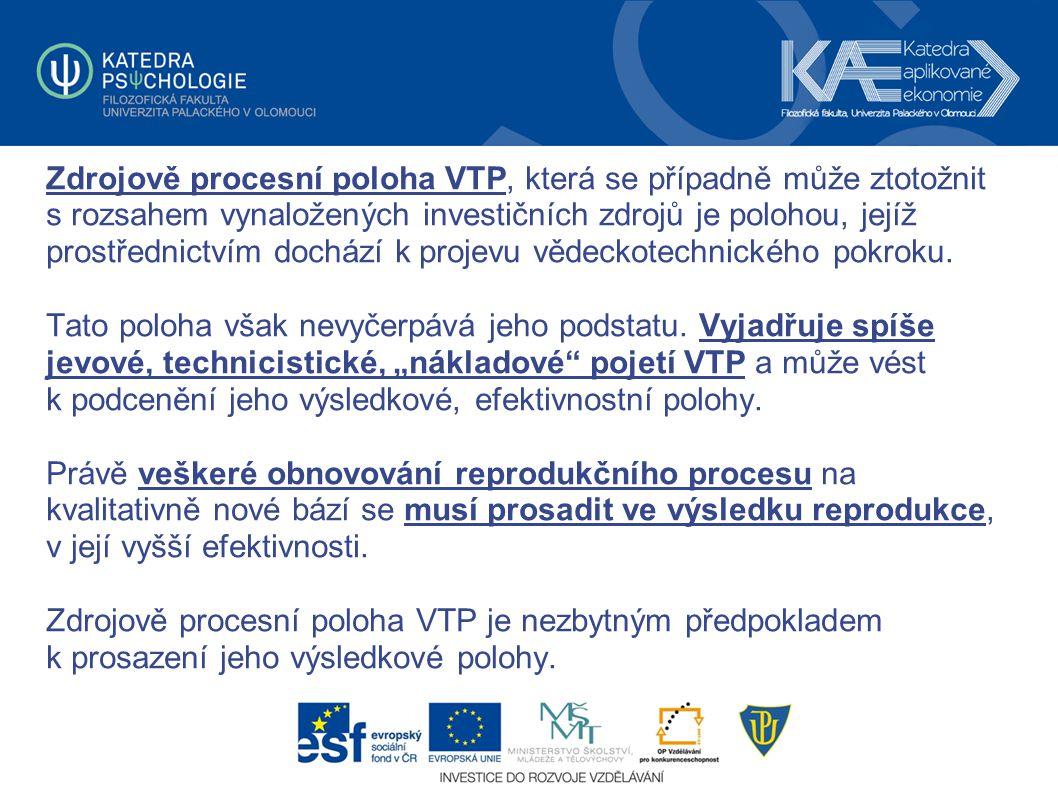 Zdrojově procesní poloha VTP, která se případně může ztotožnit s rozsahem vynaložených investičních zdrojů je polohou, jejíž prostřednictvím dochází k projevu vědeckotechnického pokroku.