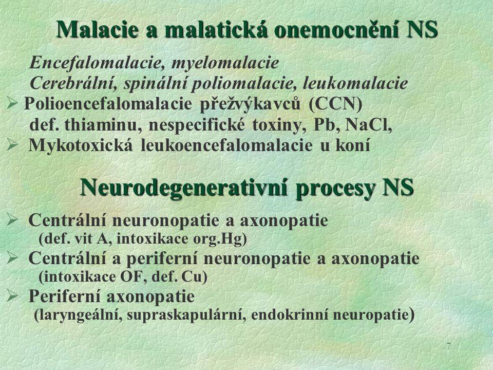 Malacie a malatická onemocnění NS