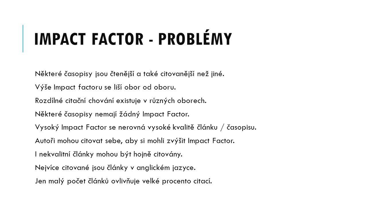 Impact Factor - problémy