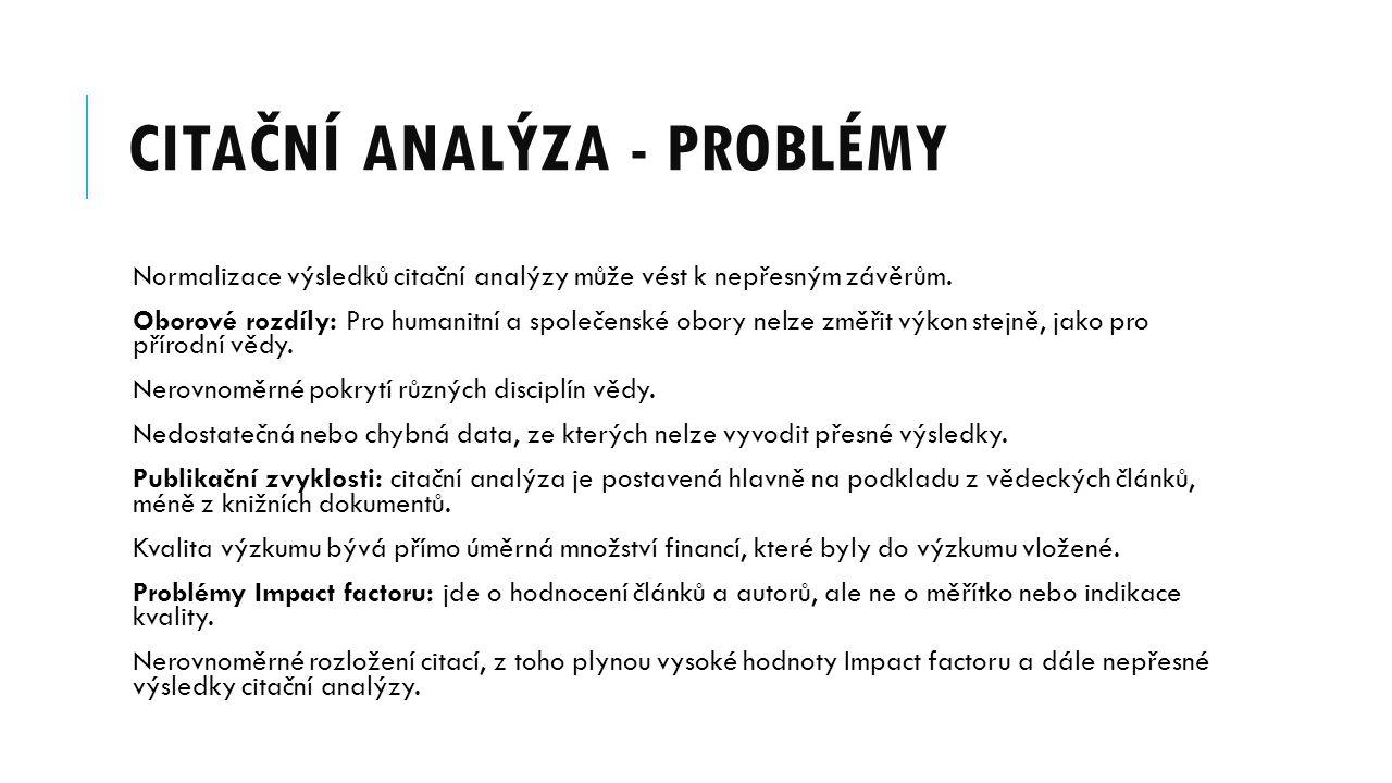Citační analýza - problémy