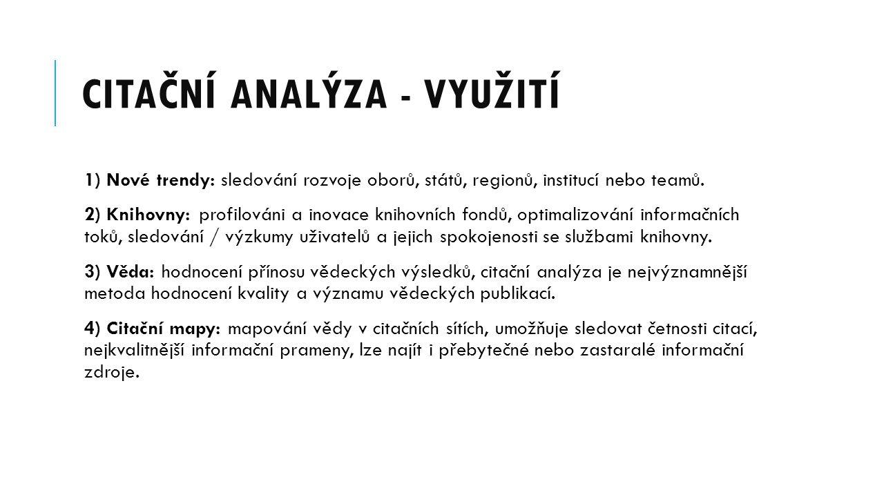 Citační analýza - využití