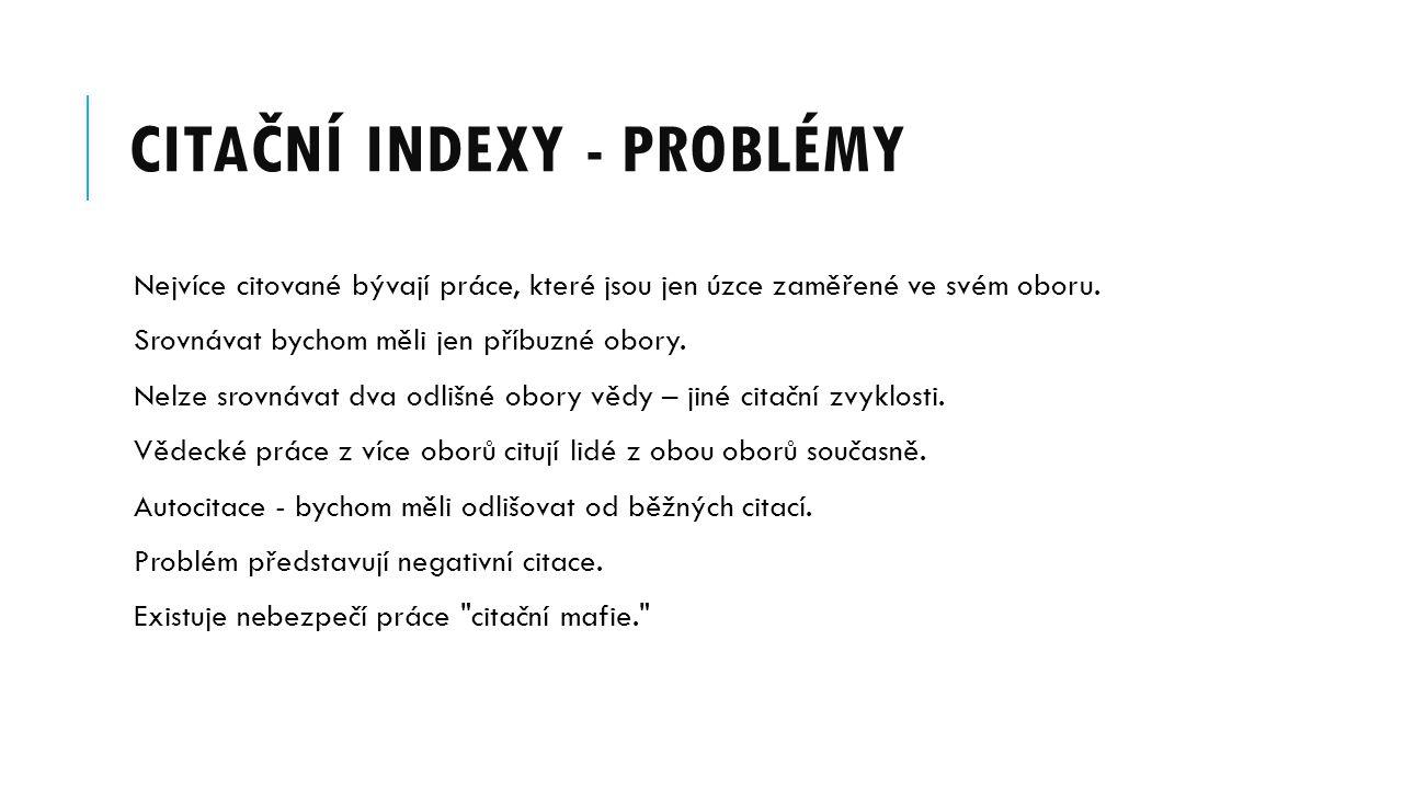 Citační indexy - problémy