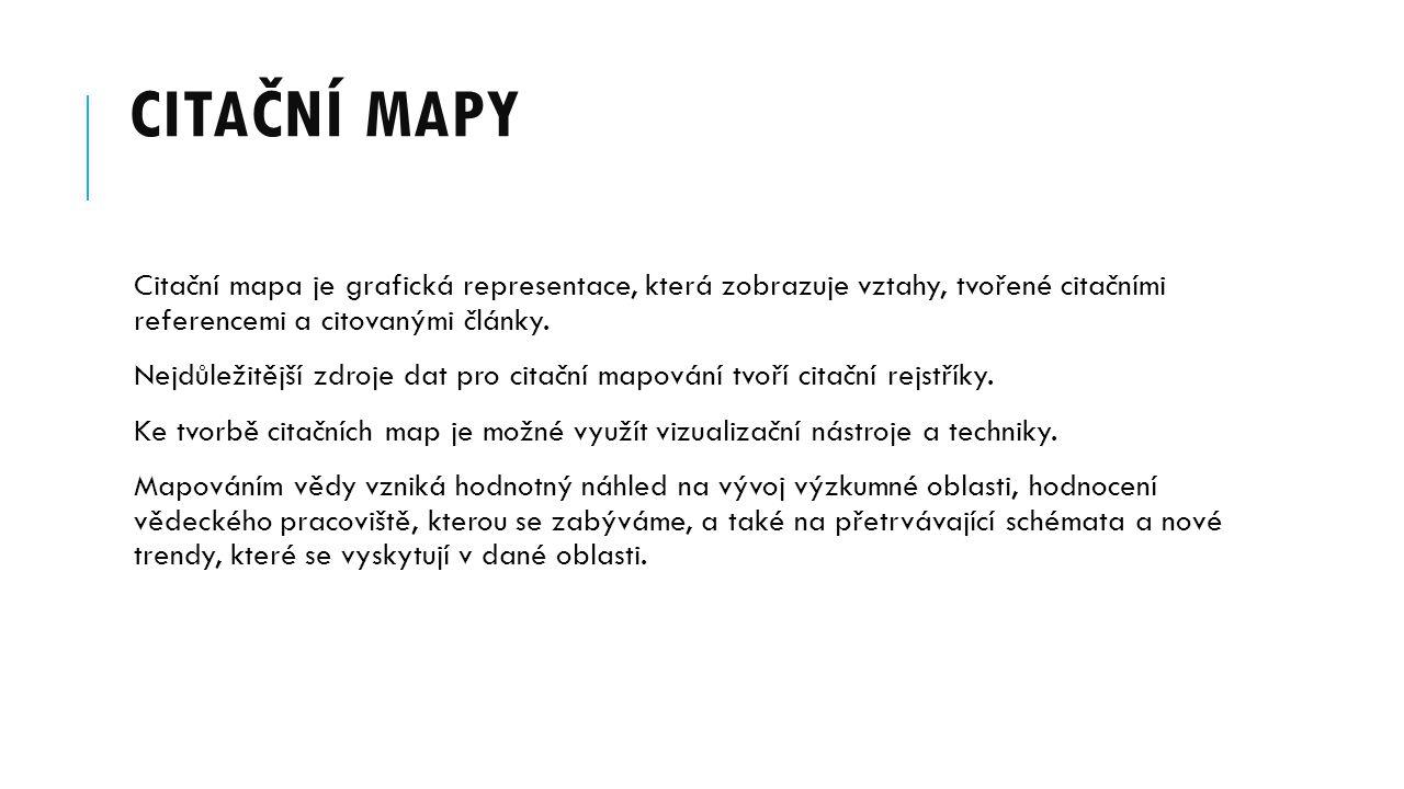 Citační mapy Citační mapa je grafická representace, která zobrazuje vztahy, tvořené citačními referencemi a citovanými články.