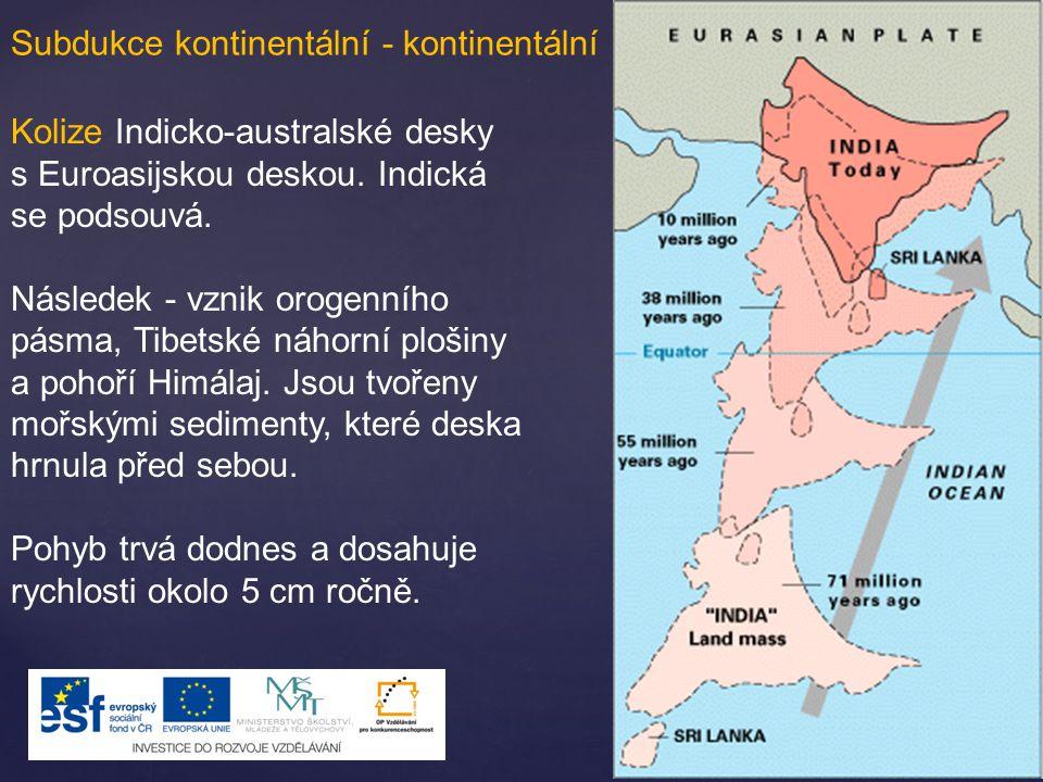 Subdukce kontinentální - kontinentální