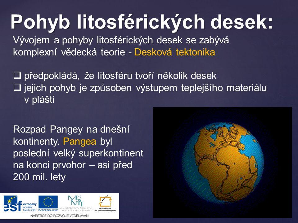 Pohyb litosférických desek: