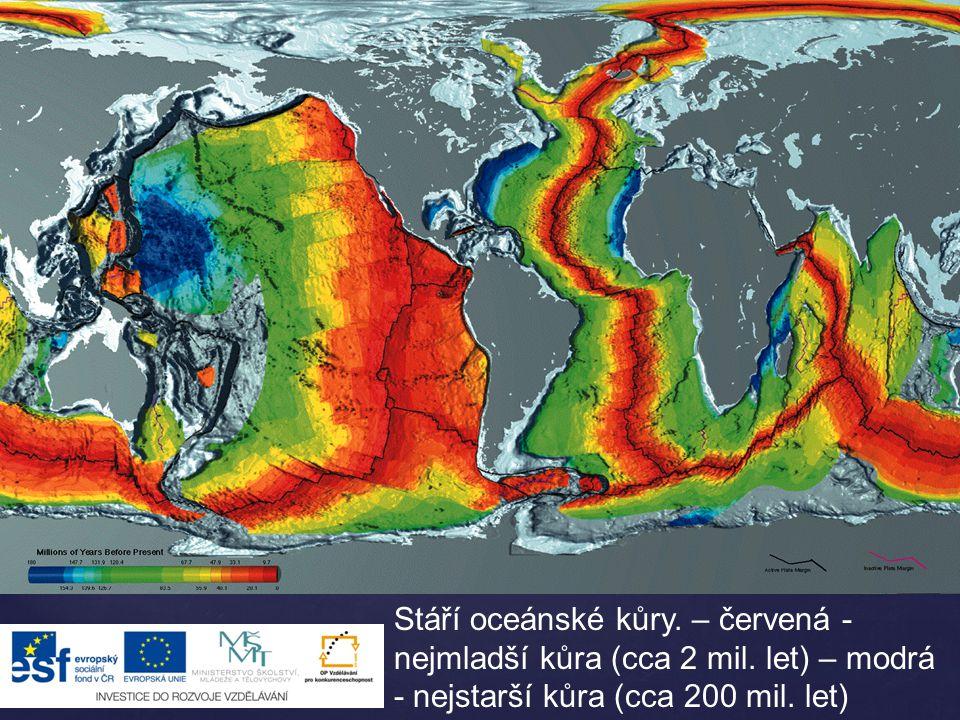 Stáří oceánské kůry. – červená -nejmladší kůra (cca 2 mil