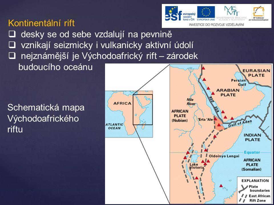 Kontinentální rift desky se od sebe vzdalují na pevnině. vznikají seizmicky i vulkanicky aktivní údolí.