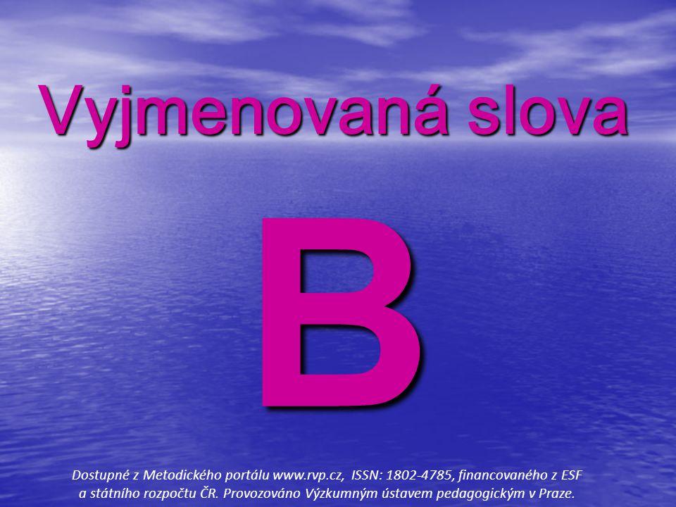 Vyjmenovaná slova B.