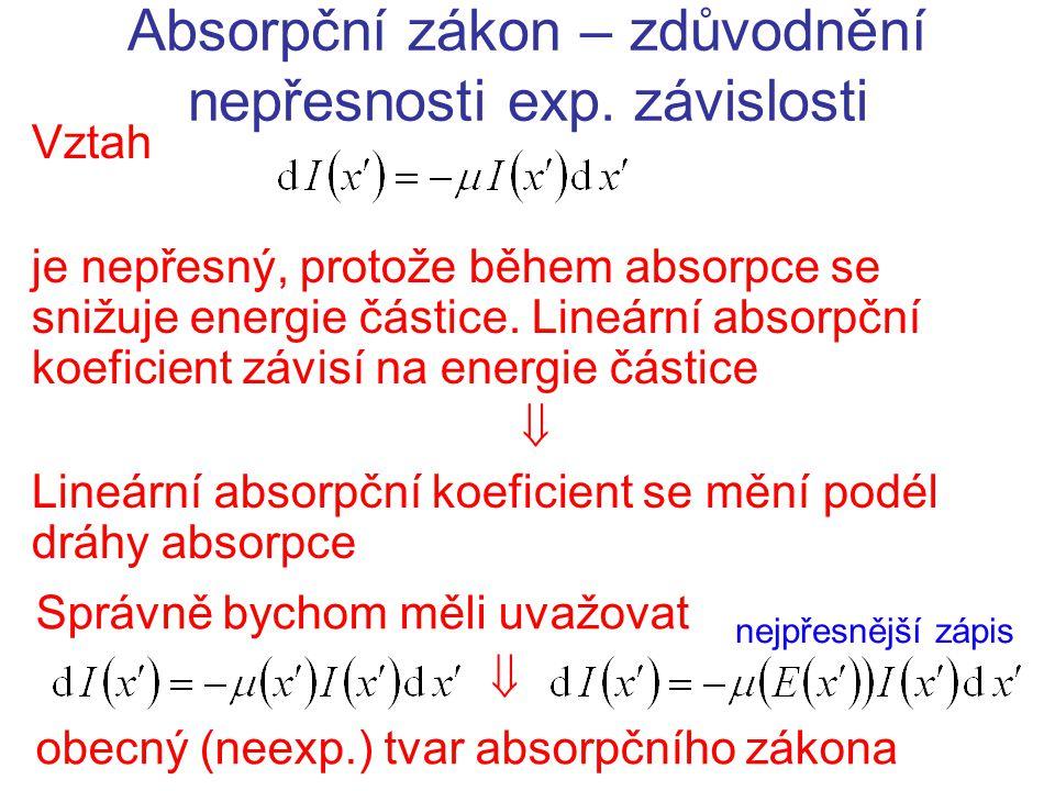Absorpční zákon – zdůvodnění nepřesnosti exp. závislosti