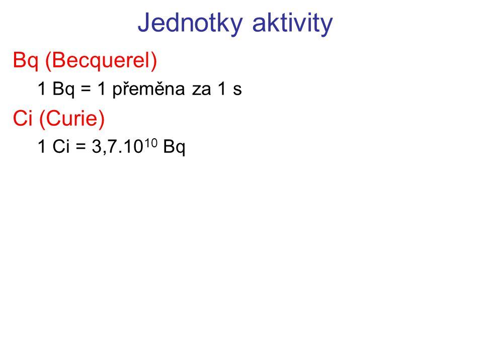 Bq (Becquerel) 1 Bq = 1 přeměna za 1 s Ci (Curie) 1 Ci = 3,7.1010 Bq
