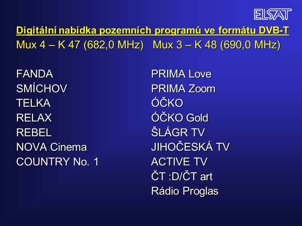 Digitální nabídka pozemních programů ve formátu DVB-T Mux 4 – K 47 (682,0 MHz) Mux 3 – K 48 (690,0 MHz) FANDA PRIMA Love SMÍCHOV PRIMA Zoom TELKA ÓČKO RELAX ÓČKO Gold REBEL ŠLÁGR TV NOVA Cinema JIHOČESKÁ TV COUNTRY No.
