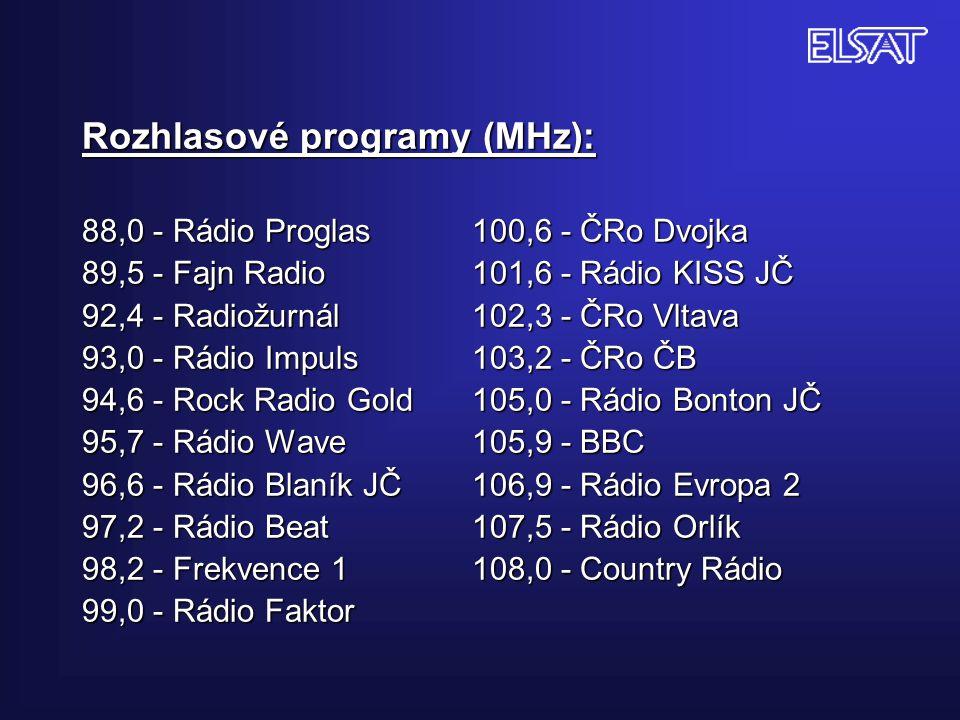 Rozhlasové programy (MHz): 88,0 - Rádio Proglas