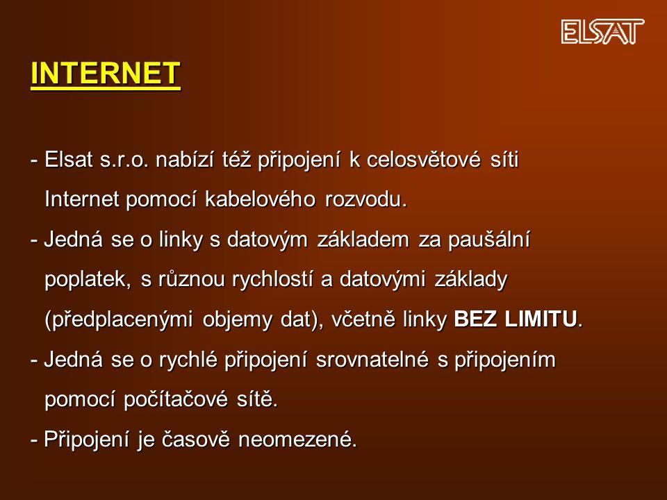 INTERNET -. Elsat s. r. o. nabízí též připojení k celosvětové síti