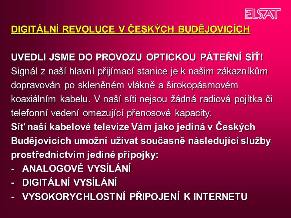 DIGITÁLNÍ REVOLUCE V ČESKÝCH BUDĚJOVICÍCH UVEDLI JSME DO PROVOZU OPTICKOU PÁTEŘNÍ SÍŤ.