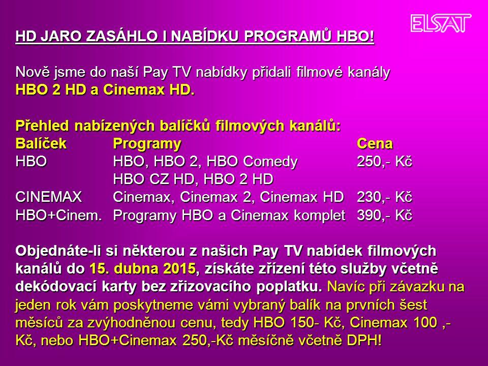 HD JARO ZASÁHLO I NABÍDKU PROGRAMŮ HBO!