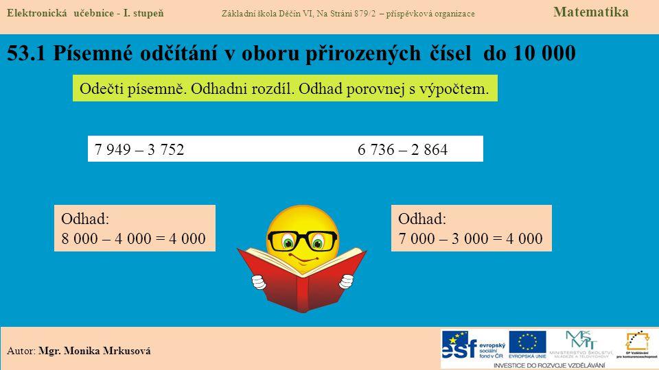 53.1 Písemné odčítání v oboru přirozených čísel do 10 000
