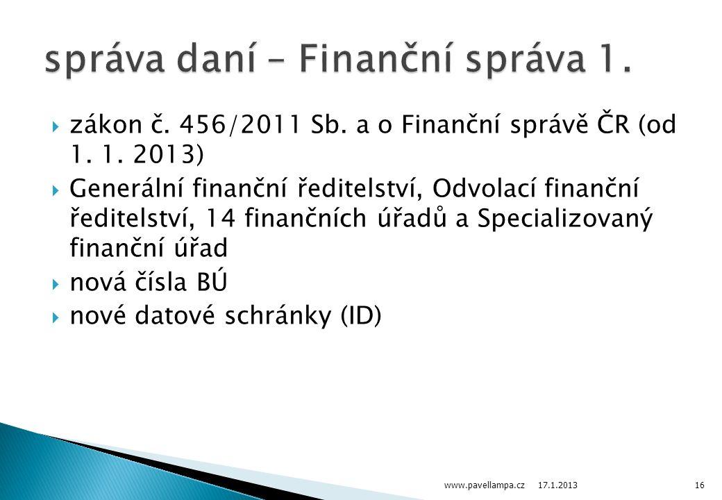správa daní – Finanční správa 1.
