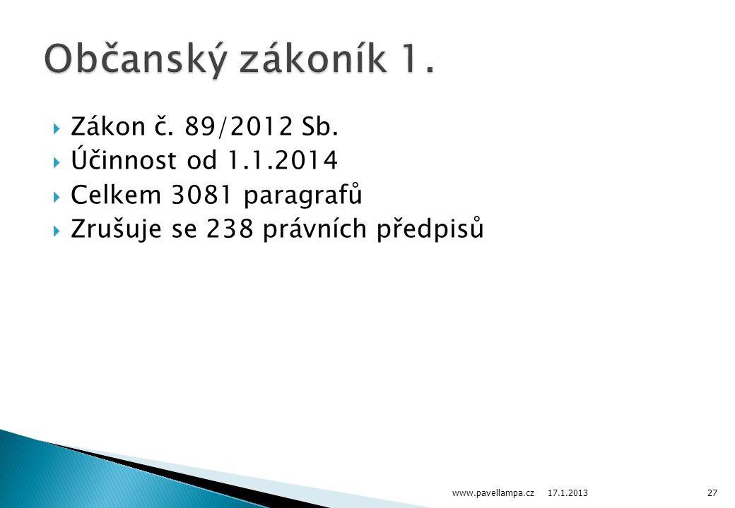 Občanský zákoník 1. Zákon č. 89/2012 Sb. Účinnost od 1.1.2014